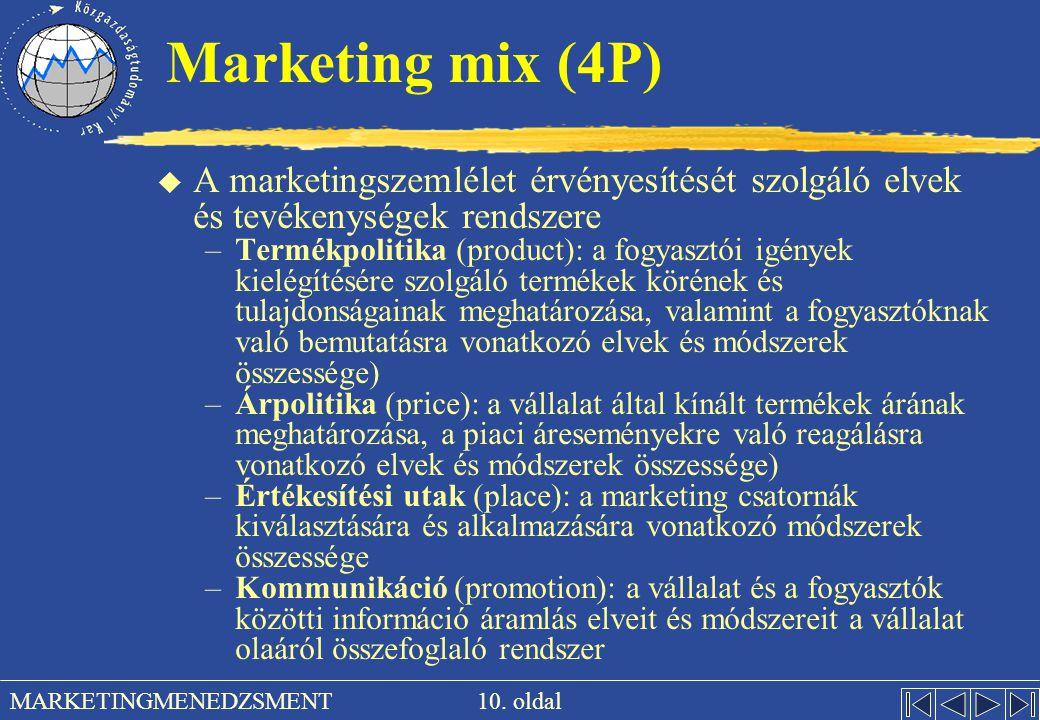 10. oldal MARKETINGMENEDZSMENT Marketing mix (4P) u A marketingszemlélet érvényesítését szolgáló elvek és tevékenységek rendszere –Termékpolitika (pro