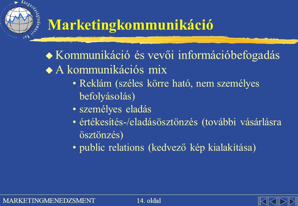 14. oldal MARKETINGMENEDZSMENT Marketingkommunikáció u Kommunikáció és vevői információbefogadás u A kommunikációs mix Reklám (széles körre ható, nem