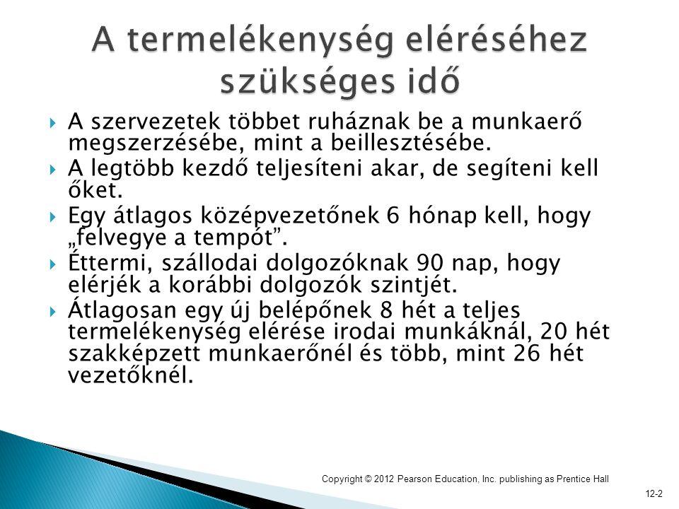 12-13  Kilépési interjúk (exit interviews)  Munkavállalói elégedettségi kérdőívek Copyright © 2012 Pearson Education, Inc.