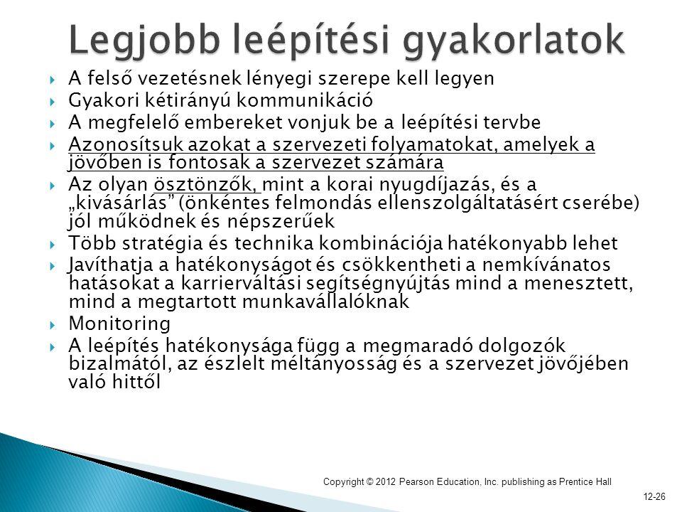 12-26  A felső vezetésnek lényegi szerepe kell legyen  Gyakori kétirányú kommunikáció  A megfelelő embereket vonjuk be a leépítési tervbe  Azonosí