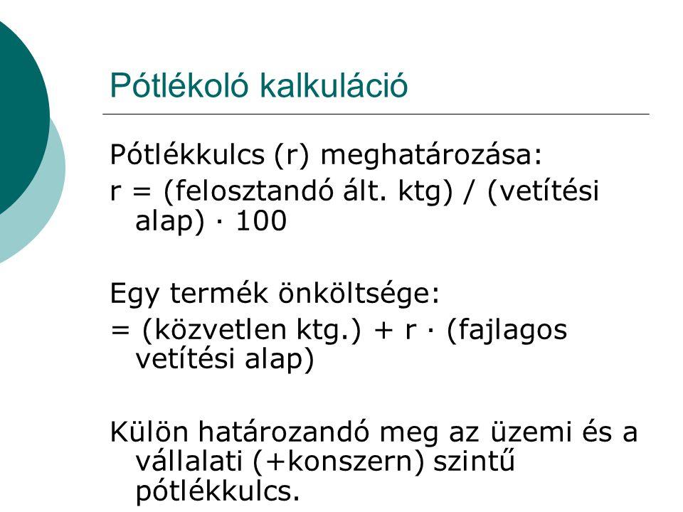 Pótlékoló kalkuláció Pótlékkulcs (r) meghatározása: r = (felosztandó ált. ktg) / (vetítési alap) · 100 Egy termék önköltsége: = (közvetlen ktg.) + r ·