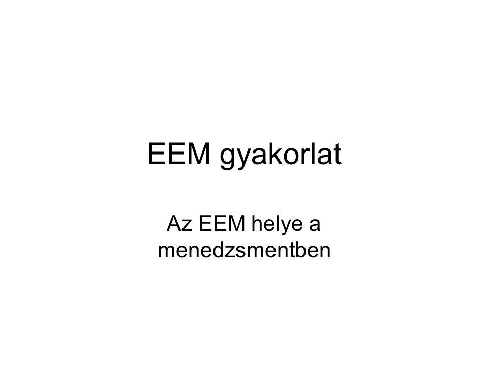 EEM gyakorlat Az EEM helye a menedzsmentben