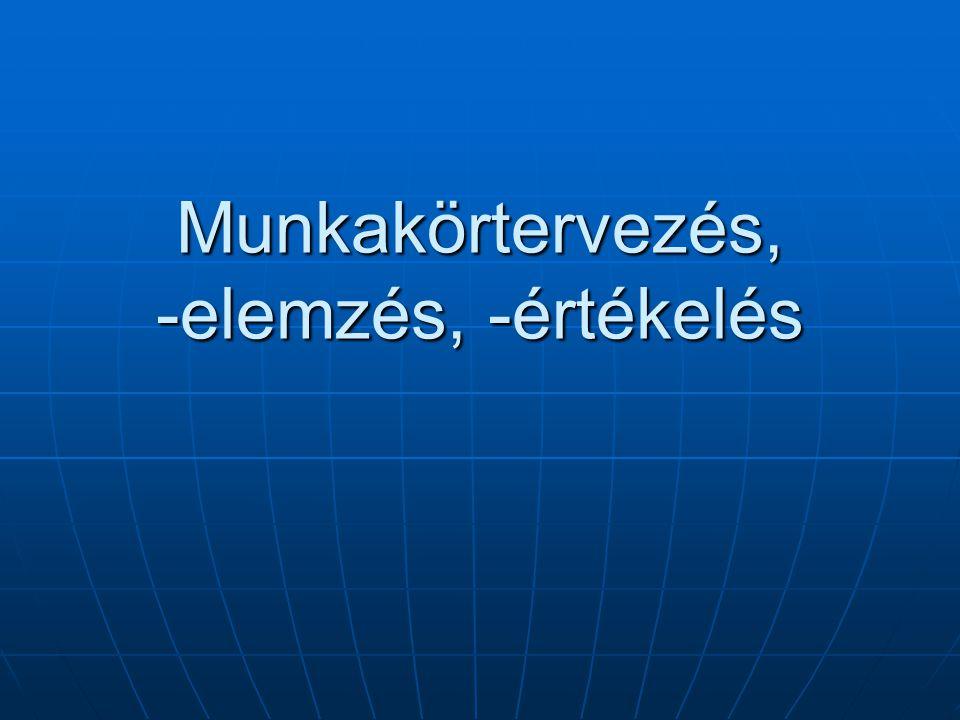 Munkakör rövid összegzése Munkakör funkciói Munkakör funkciói Munkakör céljai Munkakör céljai Munkakörhöz tartozó outputok Munkakörhöz tartozó outputok Általános jellemzés Általános jellemzés