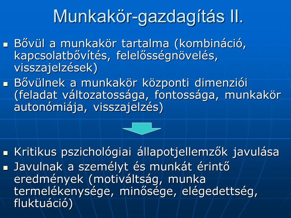 Munkakör-gazdagítás II. Bővül a munkakör tartalma (kombináció, kapcsolatbővítés, felelősségnövelés, visszajelzések) Bővül a munkakör tartalma (kombiná