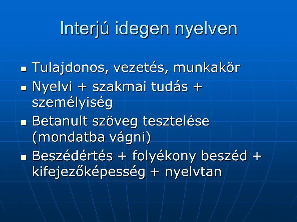 Interjú idegen nyelven Tulajdonos, vezetés, munkakör Tulajdonos, vezetés, munkakör Nyelvi + szakmai tudás + személyiség Nyelvi + szakmai tudás + szemé
