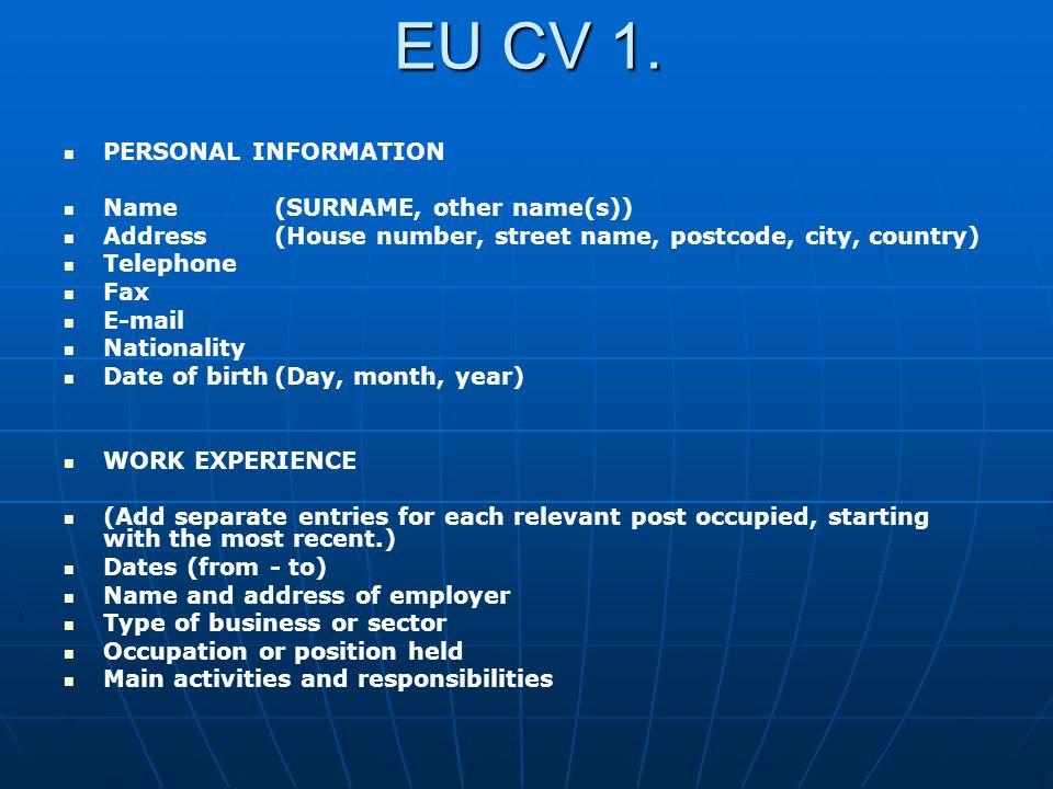 EU CV 2.