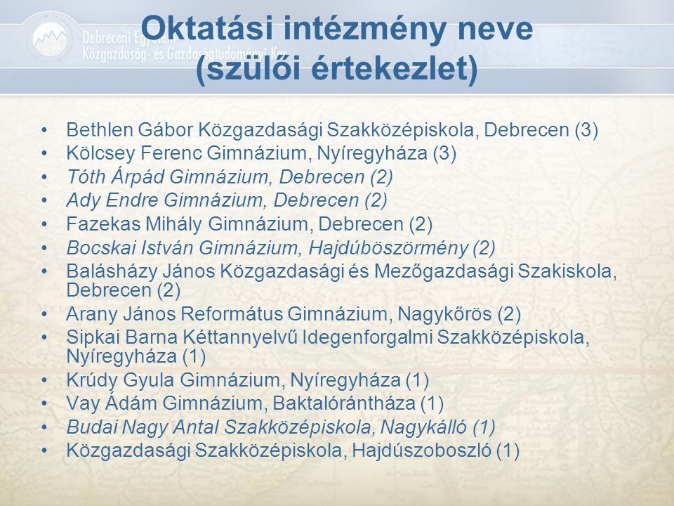 Oktatási intézmény neve (szülői értekezlet) Bethlen Gábor Közgazdasági Szakközépiskola, Debrecen (3) Kölcsey Ferenc Gimnázium, Nyíregyháza (3) Tóth Ár