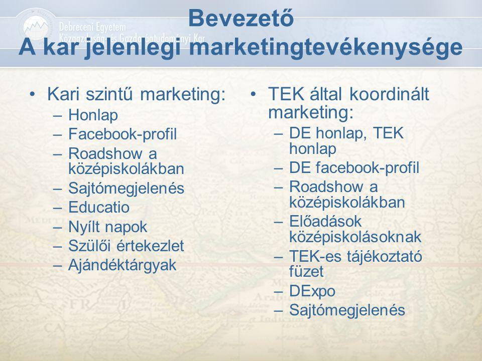 Bevezető A kar jelenlegi marketingtevékenysége Kari szintű marketing: –Honlap –Facebook-profil –Roadshow a középiskolákban –Sajtómegjelenés –Educatio