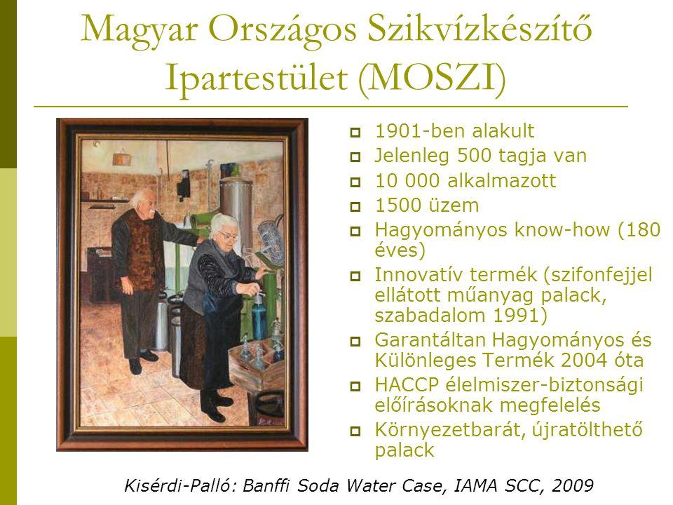 Magyar Országos Szikvízkészítő Ipartestület (MOSZI)  1901-ben alakult  Jelenleg 500 tagja van  10 000 alkalmazott  1500 üzem  Hagyományos know-how (180 éves)  Innovatív termék (szifonfejjel ellátott műanyag palack, szabadalom 1991)  Garantáltan Hagyományos és Különleges Termék 2004 óta  HACCP élelmiszer-biztonsági előírásoknak megfelelés  Környezetbarát, újratölthető palack Kisérdi-Palló: Banffi Soda Water Case, IAMA SCC, 2009