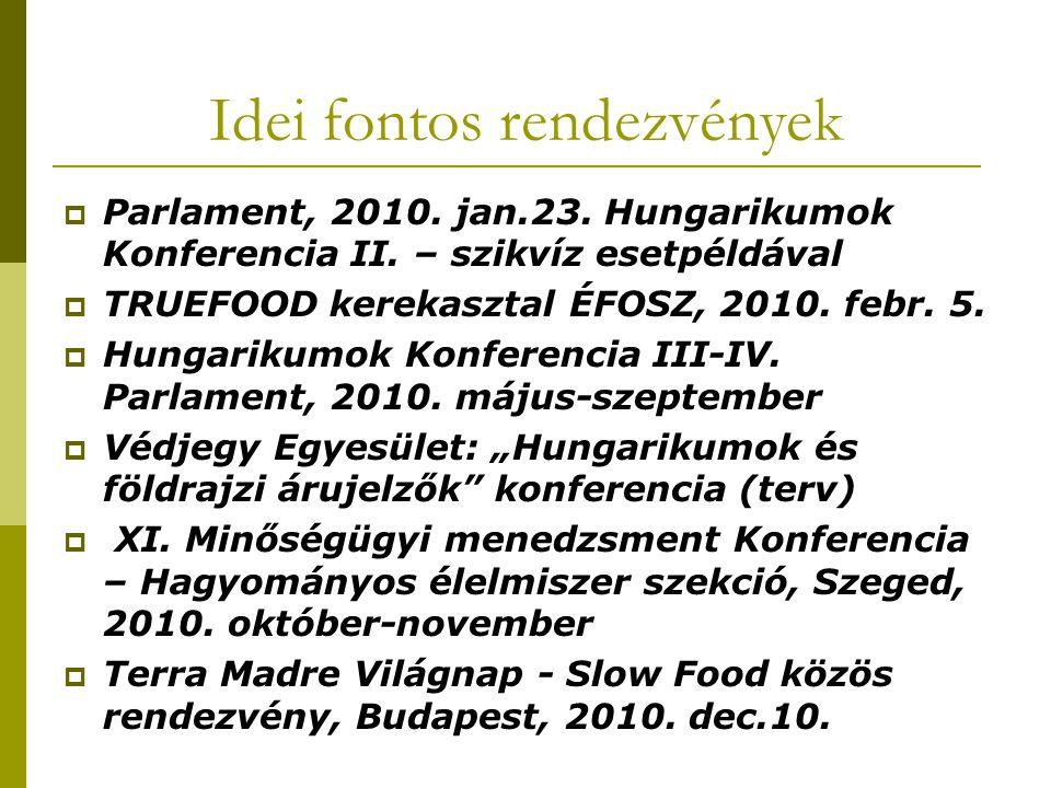 Idei fontos rendezvények  Parlament, 2010. jan.23. Hungarikumok Konferencia II. – szikvíz esetpéldával  TRUEFOOD kerekasztal ÉFOSZ, 2010. febr. 5. 