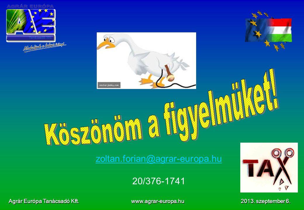 Agrár Európa Tanácsadó Kft.www.agrar-europa.hu 2013.