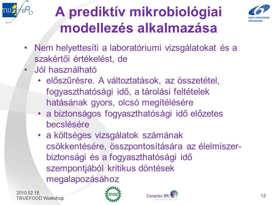 A prediktív mikrobiológiai modellezés alkalmazása Nem helyettesíti a laboratóriumi vizsgálatokat és a szakértői értékelést, de Jól használható előszűr