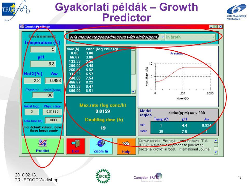 Gyakorlati példák – Growth Predictor 2010.02.18. TRUEFOOD Workshop 15