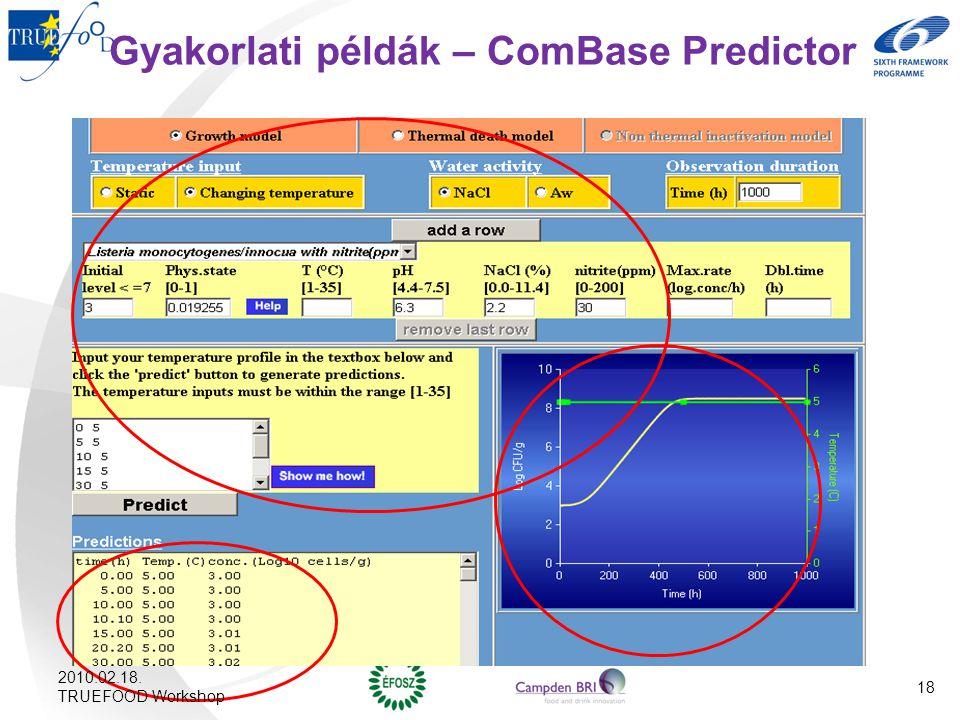 Gyakorlati példák – ComBase Predictor 2010.02.18. TRUEFOOD Workshop 18