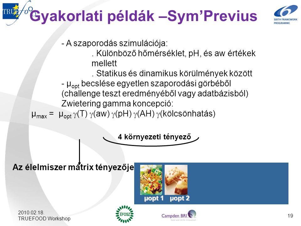 Gyakorlati példák –Sym'Previus - A szaporodás szimulációja:. Különböző hőmérséklet, pH, és aw értékek mellett. Statikus és dinamikus körülmények közöt
