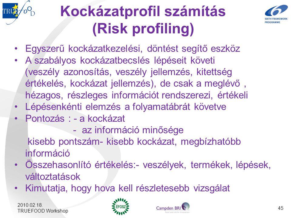 Kockázatprofil számítás (Risk profiling) Egyszerű kockázatkezelési, döntést segítő eszköz A szabályos kockázatbecslés lépéseit követi (veszély azonosí