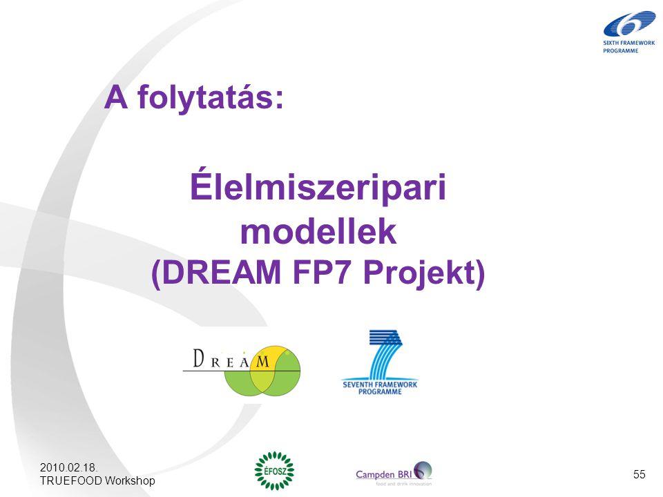 A folytatás: Élelmiszeripari modellek (DREAM FP7 Projekt) 2010.02.18. TRUEFOOD Workshop 55