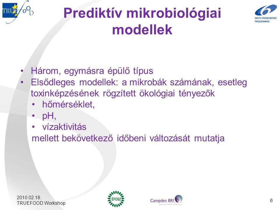 Prediktív mikrobiológiai modellek Három, egymásra épülő típus Elsődleges modellek: a mikrobák számának, esetleg toxinképzésének rögzített ökológiai té