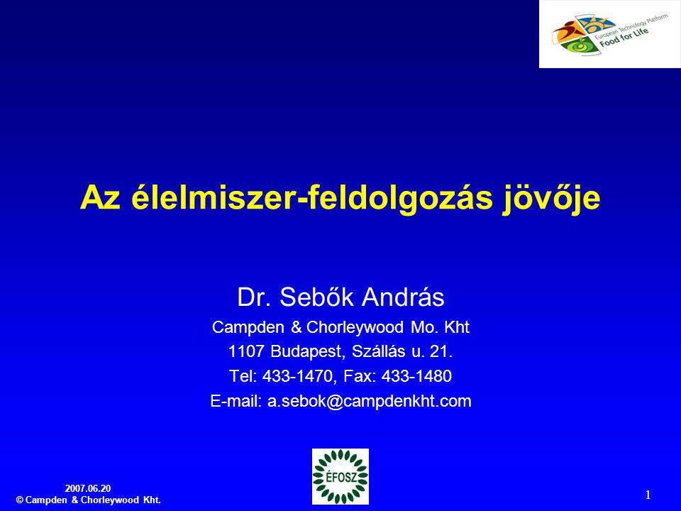 2007.06.20 © Campden & Chorleywood Kht. 1 Az élelmiszer-feldolgozás jövője Dr. Sebők András Campden & Chorleywood Mo. Kht 1107 Budapest, Szállás u. 21