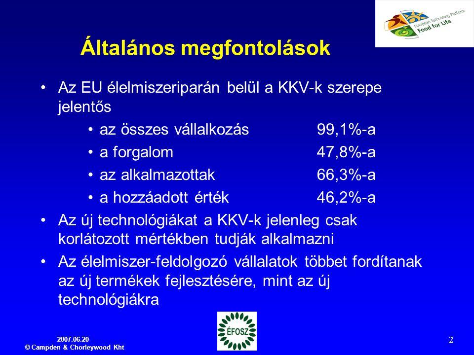 2007.06.20 © Campden & Chorleywood Kht 2 Általános megfontolások Az EU élelmiszeriparán belül a KKV-k szerepe jelentős az összes vállalkozás 99,1%-a a