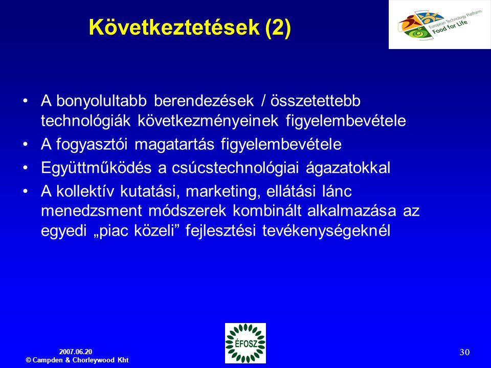 2007.06.20 © Campden & Chorleywood Kht 30 Következtetések (2) A bonyolultabb berendezések / összetettebb technológiák következményeinek figyelembevéte