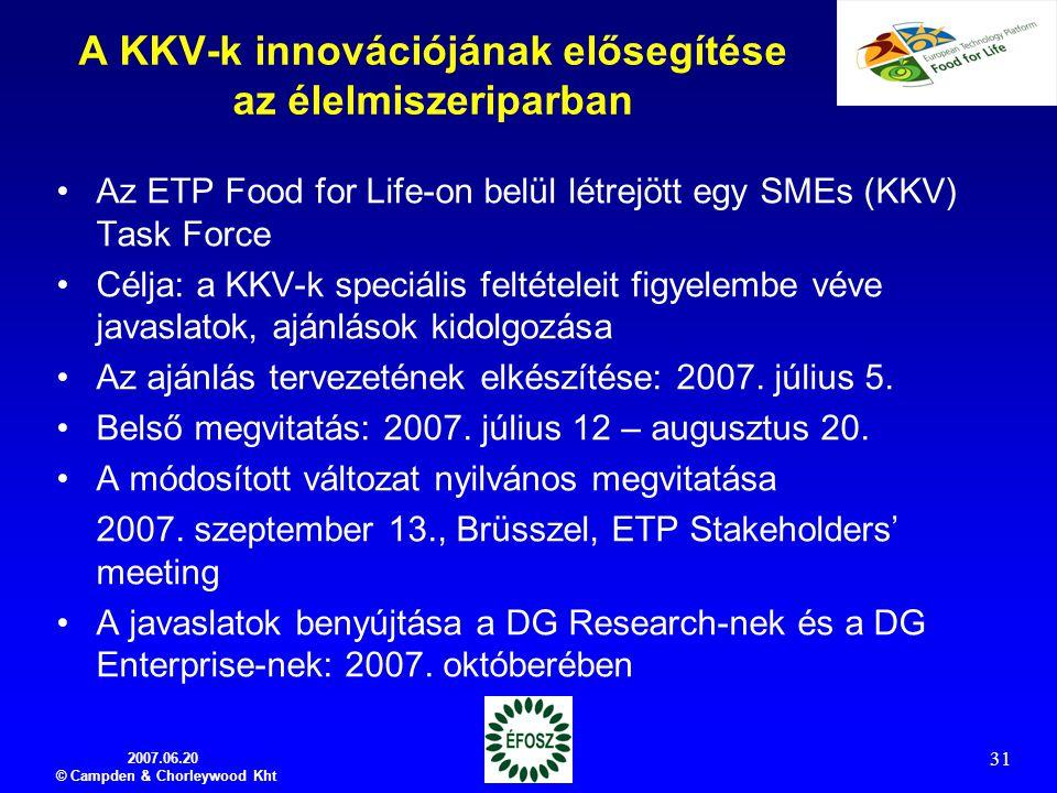 2007.06.20 © Campden & Chorleywood Kht 31 A KKV-k innovációjának elősegítése az élelmiszeriparban Az ETP Food for Life-on belül létrejött egy SMEs (KK