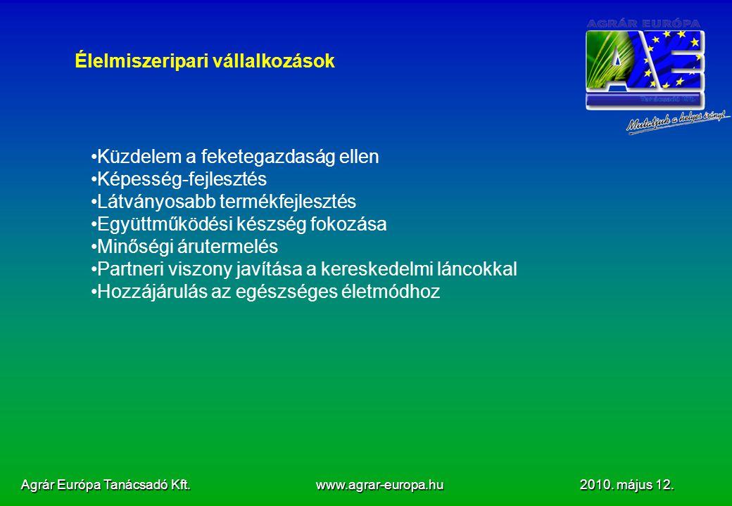Agrár Európa Tanácsadó Kft. www.agrar-europa.hu 2010. május 12. Élelmiszeripari vállalkozások Küzdelem a feketegazdaság ellen Képesség-fejlesztés Látv