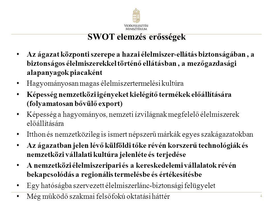 4 SWOT elemzés erősségek Az ágazat központi szerepe a hazai élelmiszer-ellátás biztonságában, a biztonságos élelmiszerekkel történő ellátásban, a mező