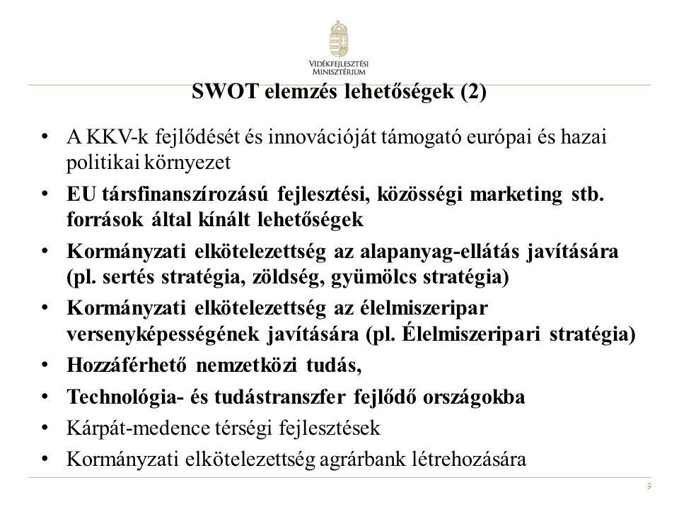 9 SWOT elemzés lehetőségek (2) A KKV-k fejlődését és innovációját támogató európai és hazai politikai környezet EU társfinanszírozású fejlesztési, köz