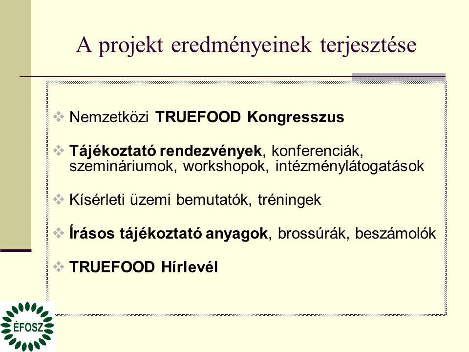 A projekt eredményeinek terjesztése  Nemzetközi TRUEFOOD Kongresszus  Tájékoztató rendezvények, konferenciák, szemináriumok, workshopok, intézménylá