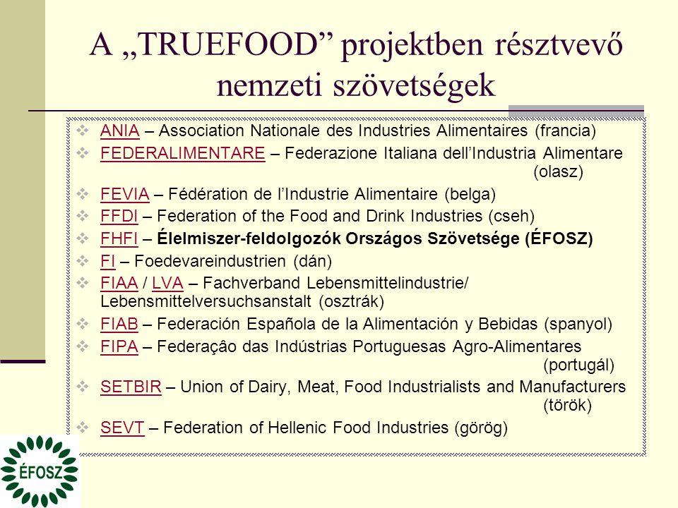 """A """"TRUEFOOD"""" projektben résztvevő nemzeti szövetségek  ANIA – Association Nationale des Industries Alimentaires (francia) ANIA  FEDERALIMENTARE – Fe"""