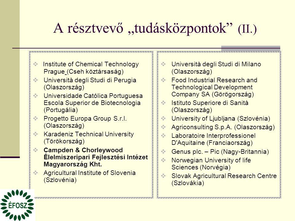 """A résztvevő """"tudásközpontok"""" (II.)  Institute of Chemical Technology Prague (Cseh köztársaság)  Università degli Studi di Perugia (Olaszország)  Un"""