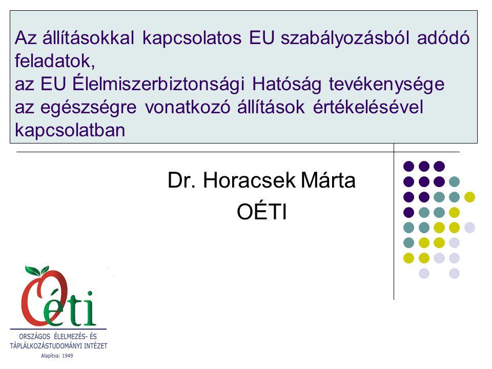Rendelet alkalmazásával kapcsolatos gyakorlati kérdések, értelmezés A rendeletből adódó tagállami és EU feladatok, állítások engedélyezése Élelmiszerek jelölésének téma-specifikus szabálya 1924/2006/EK európai parlamenti és tanácsi rendelet az élelmiszerekkel kapcsolatos tápanyag-összetételre és egészségre vonatkozó állításokról
