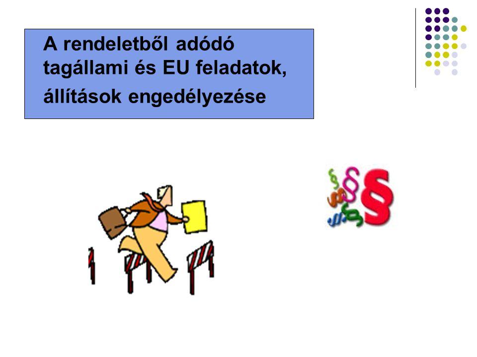 A rendeletből adódó tagállami és EU feladatok, állítások engedélyezése