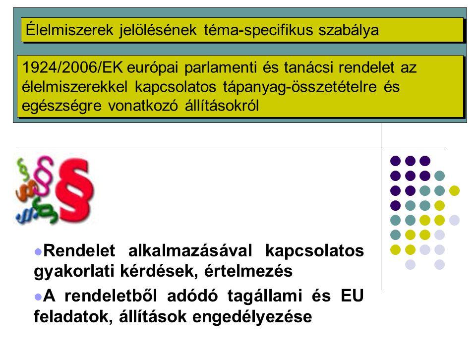 Rendelet alkalmazásával kapcsolatos gyakorlati kérdések, értelmezés A rendeletből adódó tagállami és EU feladatok, állítások engedélyezése Élelmiszere