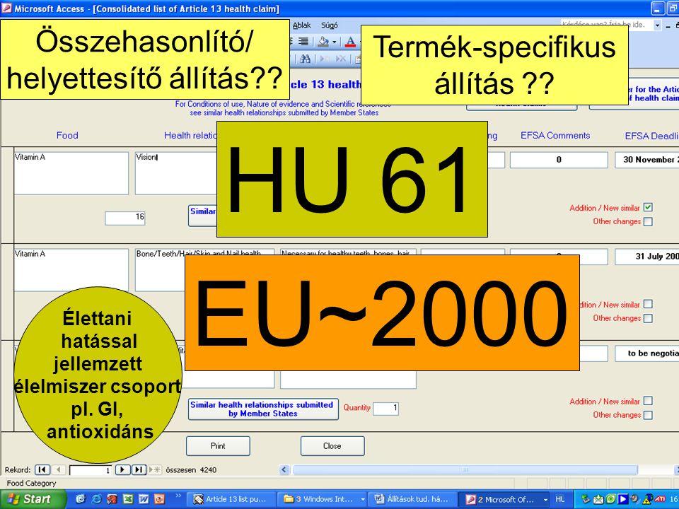 HU 61 EU~2000 Összehasonlító/ helyettesítő állítás?? Termék-specifikus állítás ?? Élettani hatással jellemzett élelmiszer csoport pl. GI, antioxidáns