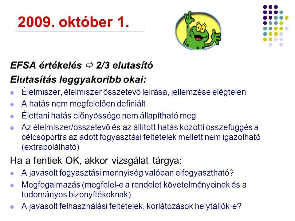 2009. október 1. EFSA értékelés  2/3 elutasító Elutasítás leggyakoribb okai: Élelmiszer, élelmiszer összetevő leírása, jellemzése elégtelen A hatás n
