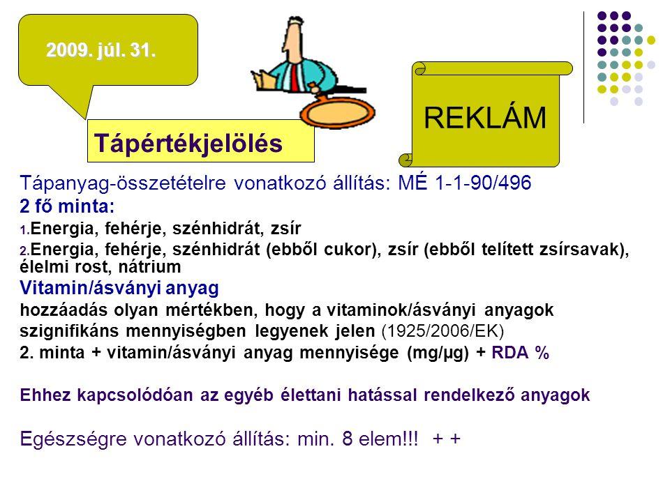felnőtteknek Feltűntethető vitaminok, ásványi anyagok, valamint ezek felnőtteknek ajánlott napi beviteli értékei A vitamin (µg)800Klorid (mg)800 D vitamin (µg) 5Kalcium (mg)800 E vitamin (mg) 10Foszfor (mg)700 K vitamin (µg) 75Magnézium (mg)375 C-vitamin (mg) 80Vas (mg) 14 Tiamin (B1) (mg) 1,1Cink (mg) 10 Riboflavin (B2) (mg) 1,4Réz (mg) 1 Niacin (B3) (mg) 16Mangán (mg) 2 Piridoxin (B6) (mg) 1,4Fluorid (mg) 3,5 Folsav (µg) 200Szelén (µg) 55 Cianokobalamin (B12) (µg) 2,5Króm (µg) 40 Biotin (µg) 50Molibdén (µg) 50 Pantoténsav (B5) 6Jód (µg)150 Kálium (mg) 2000