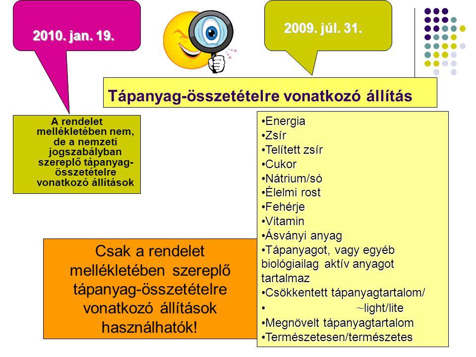 Tápanyag-összetételre vonatkozó állítások (csak a rendelet mellékletében szereplő használhatók) EnergiaEnergia ZsírZsír Telített zsírTelített zsír CukorCukor Nátrium/sóNátrium/só Élelmi rostÉlelmi rost FehérjeFehérje VitaminVitamin Ásványi anyagÁsványi anyag Tápanyagot, vagy egyébTápanyagot, vagy egyéb biológiailag aktív anyagot tartalmaz Csökkentett tápanyagtartalom/Csökkentett tápanyagtartalom/ ~ light/lite ~ light/lite Megnövelt tápanyagtartalomMegnövelt tápanyagtartalom Természetesen/természetesTermészetesen/természetes +M Szénhidrát Komplex szénhidrát GI Telítetlen zsírsavak (mono,poly,omega(3,6,6/3)) Koleszeterin X %kal kevesebb…… Ugyanolyan mennyiségű… Csökkentett/növelt mértéke 30 %  25 % Nátrium/só (víz/ásványíz/hozzáadott só nélkül) Hozzáadott cukor nélkül Élelmi rost Fehérje Vitamin Ásványi anyag