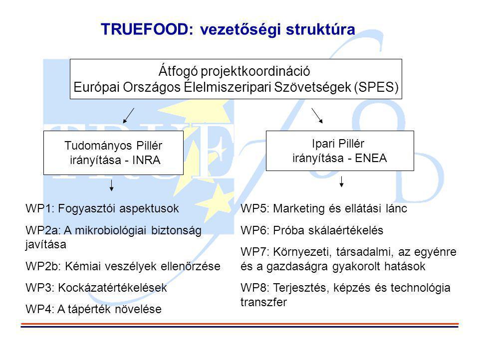 TRUEFOOD: vezetőségi struktúra Átfogó projektkoordináció Európai Országos Élelmiszeripari Szövetségek (SPES) Tudományos Pillér irányítása - INRA Ipari Pillér irányítása - ENEA WP1: Fogyasztói aspektusok WP2a: A mikrobiológiai biztonság javítása WP2b: Kémiai veszélyek ellenőrzése WP3: Kockázatértékelések WP4: A tápérték növelése WP5: Marketing és ellátási lánc WP6: Próba skálaértékelés WP7: Környezeti, társadalmi, az egyénre és a gazdaságra gyakorolt hatások WP8: Terjesztés, képzés és technológia transzfer