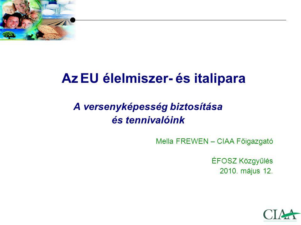 Az EU élelmiszer- és italipara A versenyképesség biztosítása és tennivalóink Mella FREWEN – CIAA Főigazgató ÉFOSZ Közgyűlés 2010.