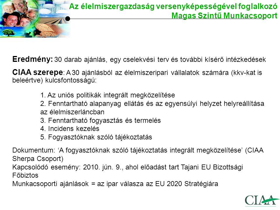 Eredmény: 30 darab ajánlás, egy cselekvési terv és további kísérő intézkedések CIAA szerepe : A 30 ajánlásból az élelmiszeripari vállalatok számára (kkv-kat is beleértve) kulcsfontosságú: 1.