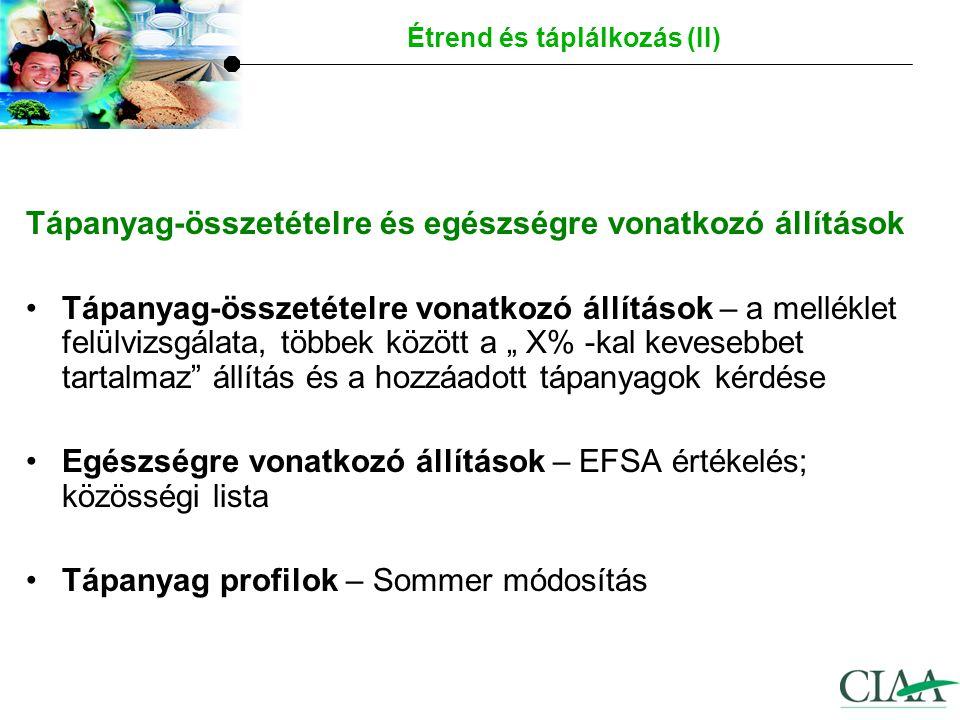 """Tápanyag-összetételre és egészségre vonatkozó állítások Tápanyag-összetételre vonatkozó állítások – a melléklet felülvizsgálata, többek között a """" X% -kal kevesebbet tartalmaz állítás és a hozzáadott tápanyagok kérdése Egészségre vonatkozó állítások – EFSA értékelés; közösségi lista Tápanyag profilok – Sommer módosítás Étrend és táplálkozás (II)"""