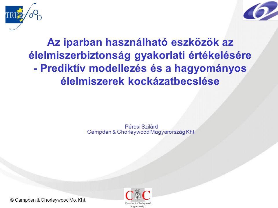 © Campden & Chorleywood Mo. Kht. Az iparban használható eszközök az élelmiszerbiztonság gyakorlati értékelésére - Prediktív modellezés és a hagyományo