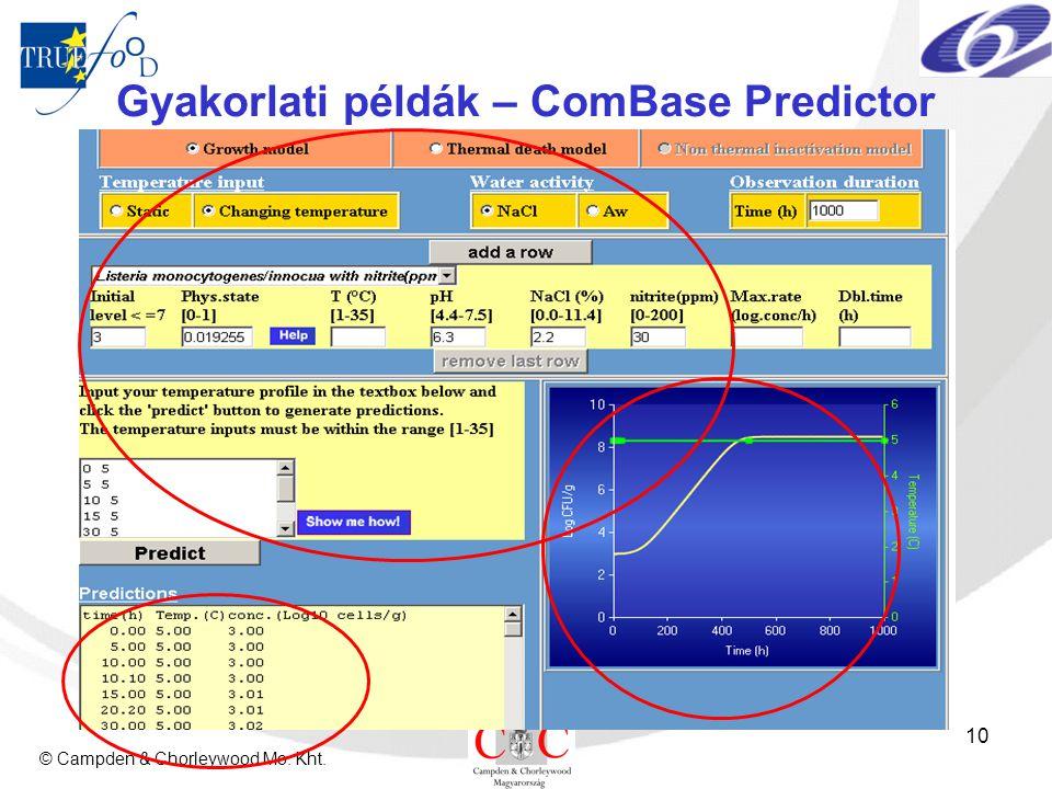 © Campden & Chorleywood Mo. Kht. 10 Gyakorlati példák – ComBase Predictor
