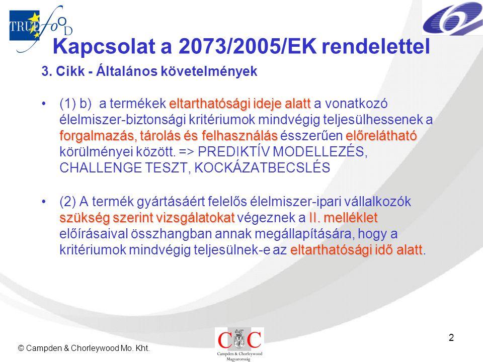 © Campden & Chorleywood Mo. Kht. 2 Kapcsolat a 2073/2005/EK rendelettel 3. Cikk - Általános követelmények eltarthatósági ideje alatt forgalmazás, táro