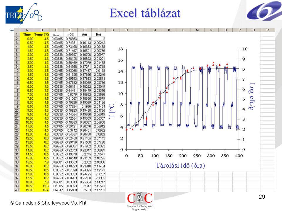 © Campden & Chorleywood Mo. Kht. 29 Excel táblázat Tárolási idő (óra) T [°C] Log cfu/g