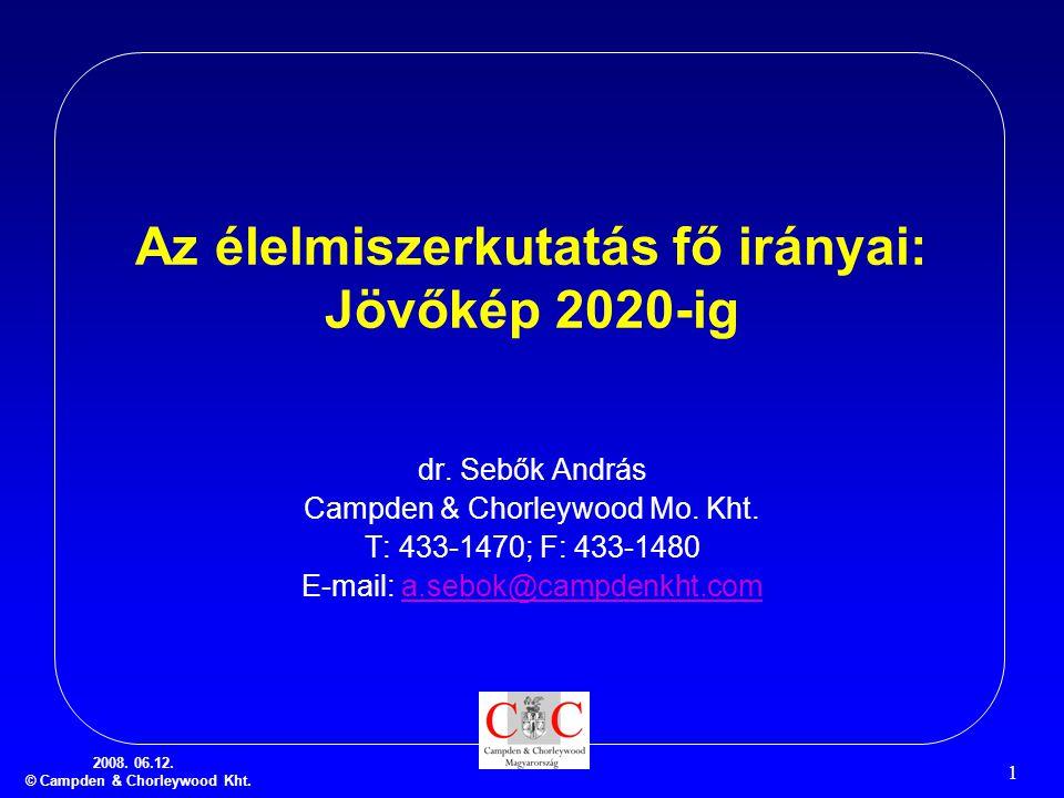 2008.06.12. © Campden & Chorleywood Kht. 1 Az élelmiszerkutatás fő irányai: Jövőkép 2020-ig dr.