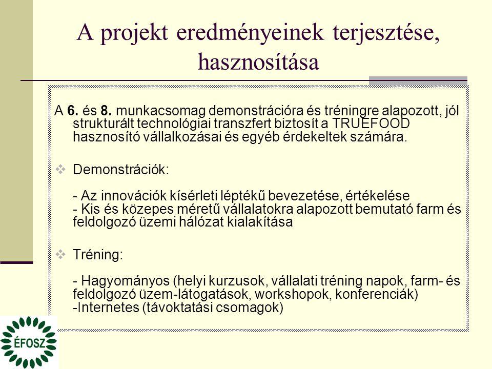 A projekt eredményeinek terjesztése, hasznosítása A 6. és 8. munkacsomag demonstrációra és tréningre alapozott, jól strukturált technológiai transzfer