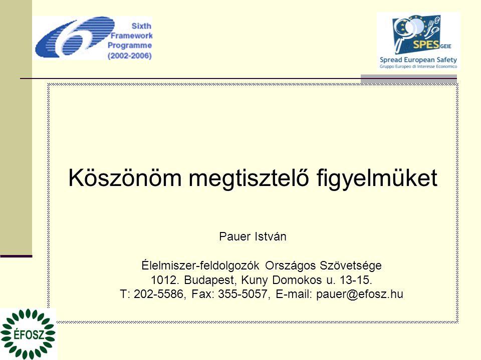 Köszönöm megtisztelő figyelmüket Pauer István Élelmiszer-feldolgozók Országos Szövetsége 1012. Budapest, Kuny Domokos u. 13-15. T: 202-5586, Fax: 355-